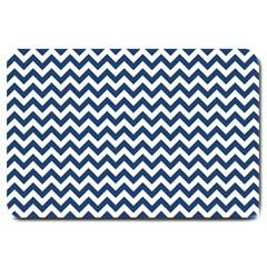Dark Blue And White Zigzag Large Door Mat