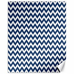 Dark Blue And White Zigzag Canvas 11  x 14  (Unframed)