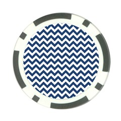 Dark Blue And White Zigzag Poker Chip