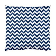 Dark Blue And White Zigzag Cushion Case (single Sided)