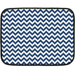 Dark Blue And White Zigzag Mini Fleece Blanket (Two Sided)