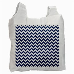 Dark Blue And White Zigzag White Reusable Bag (One Side)