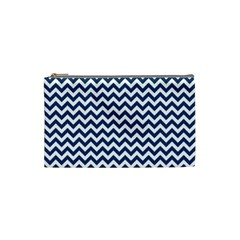 Dark Blue And White Zigzag Cosmetic Bag (Small)