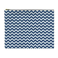 Dark Blue And White Zigzag Cosmetic Bag (xl)