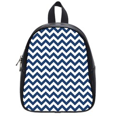 Dark Blue And White Zigzag School Bag (Small)