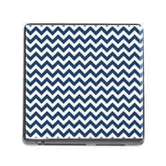 Dark Blue And White Zigzag Memory Card Reader With Storage (square)