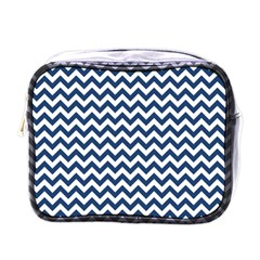 Dark Blue And White Zigzag Mini Travel Toiletry Bag (One Side)
