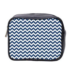Dark Blue And White Zigzag Mini Travel Toiletry Bag (two Sides)