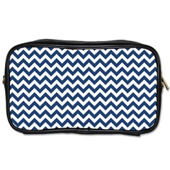 Dark Blue And White Zigzag Travel Toiletry Bag (two Sides)
