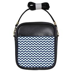 Dark Blue And White Zigzag Girl s Sling Bag