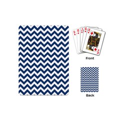 Dark Blue And White Zigzag Playing Cards (mini)