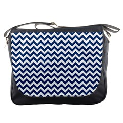 Dark Blue And White Zigzag Messenger Bag