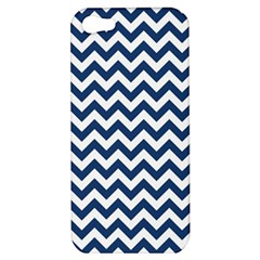 Dark Blue And White Zigzag Apple Iphone 5 Hardshell Case