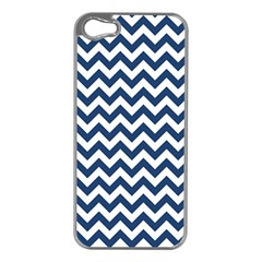 Dark Blue And White Zigzag Apple iPhone 5 Case (Silver)