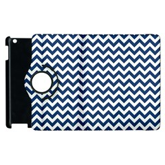 Dark Blue And White Zigzag Apple iPad 3/4 Flip 360 Case