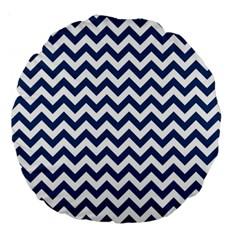 Dark Blue And White Zigzag 18  Premium Round Cushion