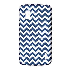 Dark Blue And White Zigzag Google Nexus 4 (LG E960) Hardshell Case