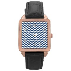 Dark Blue And White Zigzag Rose Gold Leather Watch