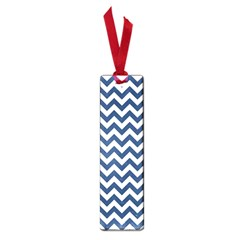 Dark Blue And White Zigzag Small Bookmark
