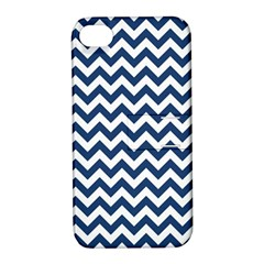Dark Blue And White Zigzag Apple iPhone 4/4S Hardshell Case with Stand