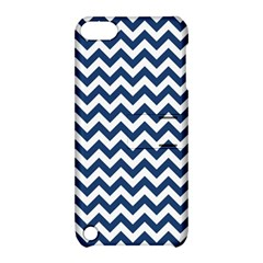 Dark Blue And White Zigzag Apple Ipod Touch 5 Hardshell Case With Stand