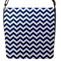 Dark Blue And White Zigzag Flap Closure Messenger Bag (small)