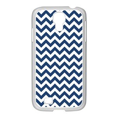 Dark Blue And White Zigzag Samsung GALAXY S4 I9500/ I9505 Case (White)