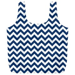 Dark Blue And White Zigzag Reusable Bag (XL)