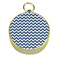 Dark Blue And White Zigzag Gold Compass