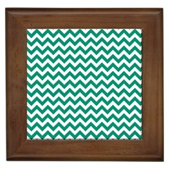 Emerald Green And White Zigzag Framed Ceramic Tile