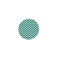 Emerald Green And White Zigzag 1  Mini Button Magnet