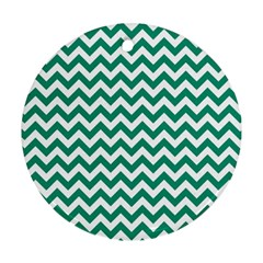 Emerald Green And White Zigzag Round Ornament
