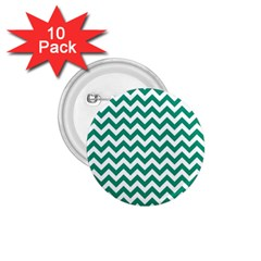 Emerald Green And White Zigzag 1 75  Button (10 Pack)