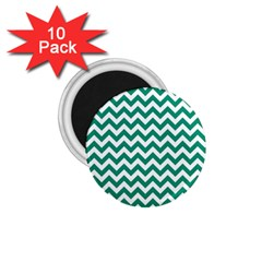Emerald Green And White Zigzag 1.75  Button Magnet (10 pack)