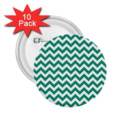 Emerald Green And White Zigzag 2.25  Button (10 pack)