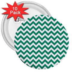 Emerald Green And White Zigzag 3  Button (10 pack)