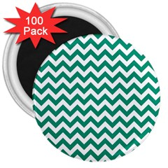 Emerald Green And White Zigzag 3  Button Magnet (100 pack)