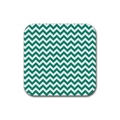 Emerald Green And White Zigzag Drink Coaster (Square)
