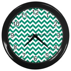 Emerald Green And White Zigzag Wall Clock (Black)