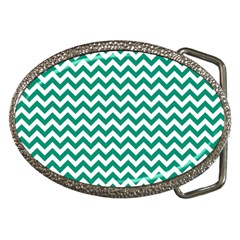 Emerald Green And White Zigzag Belt Buckle (oval)