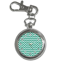 Emerald Green And White Zigzag Key Chain Watch