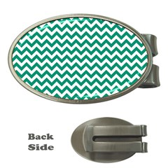 Emerald Green And White Zigzag Money Clip (Oval)