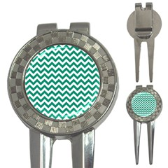 Emerald Green And White Zigzag Golf Pitchfork & Ball Marker