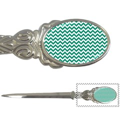 Emerald Green And White Zigzag Letter Opener