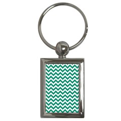 Emerald Green And White Zigzag Key Chain (rectangle)