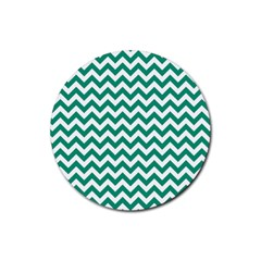 Emerald Green And White Zigzag Drink Coaster (round)