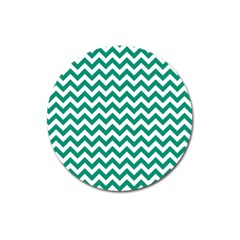 Emerald Green And White Zigzag Magnet 3  (Round)