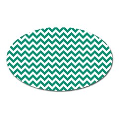 Emerald Green And White Zigzag Magnet (Oval)