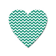 Emerald Green And White Zigzag Magnet (heart)