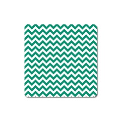 Emerald Green And White Zigzag Magnet (Square)